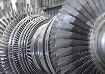 Internal rotor of a steam Turbine at workshop.